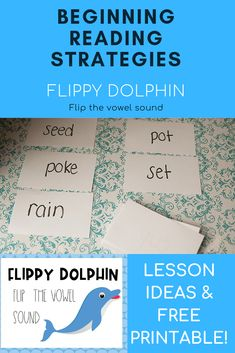 Are you teaching your child to read and looking for information about beginning reading strategies? Check out this post full of tips for teaching the Flippy Dolphin reading strategy. It has all instructional advice and a free printable Homeschool Kindergarten, Preschool Lessons, Lessons For Kids, Preschool Ideas, Preschool Crafts, Homeschooling, Pre Reading Activities, Reading Strategies, Reading Skills