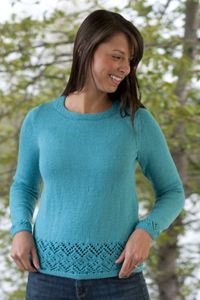 Free knitting pattern for Place Lace pullover sweater with lace detail at hems. This and more pullover knitting patterns at http://intheloopknitting.com/long-sleeve-pullover-sweater-knitting-patterns/