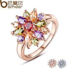 BAMOER 3 Couleurs Rose Plaqué Or Bague pour les Femmes avec AAA Multicolore Cubique Zircon De Mariage Berloque #6 7 8 9 JIR031