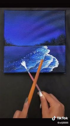 Simple Canvas Paintings, Small Canvas Art, Diy Canvas Art, Easy Paintings, Canvas Painting Tutorials, Painting Tools, Painting Art, Creative Painting Ideas, Painting Clouds