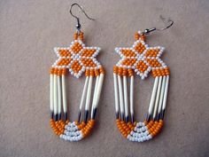Porcupine Quill Beading | White and Orange Star Flower Hand Beaded Quill by WigWamCrafts
