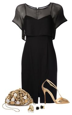 """""""Black Mesh Dress"""" by lipservicebymel ❤ liked on Polyvore featuring L'Agence, Ballin, Santi, Kate Spade and Coach"""