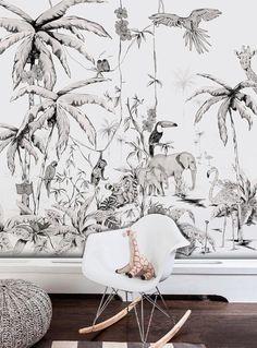 Papier peint JUNGLE noir blanc de qualité supérieure | Etsy