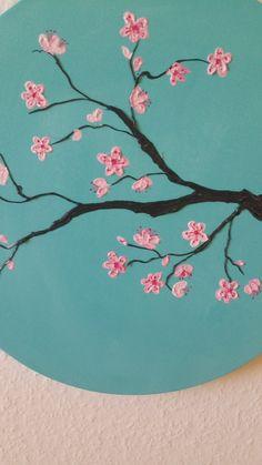 Pintura acrílica Flor de cerezo por RimaBGallery en Etsy