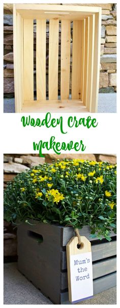 Wooden Crate Makeover - Fall decor. Front porch decor. DIY. Mums.2 Bees in a Pod