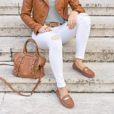 Cognac leather jacket, white jeans, Coach loafers