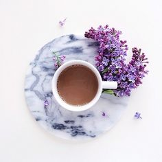 Perfect start to the morning...a cup of coffee and the sweet smell of my favorite flowers
