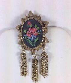 Vintage Jewelry Brooch/pin Tassels Red Rose Design details -Nice