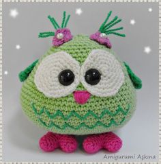 Amigurumi - no pattern Crochet Birds, Love Crochet, Crochet Animals, Crochet Crafts, Crochet Baby, Crochet Projects, Knit Crochet, Owl Patterns, Amigurumi Patterns