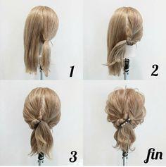 """ヘアアレンジ """" Quick Hairstyles, In my opinion, hair ribbons/scarves are the prettiest hair accessories. They can make a messy bun or a ponytail look elegant. They can make a bad hair. Curly Hair Styles, Braided Hairstyles Updo, Down Hairstyles, Quick Hairstyles, Hair Arrange, Pinterest Hair, Vintage Hairstyles, Hair Hacks, Hair Lengths"""