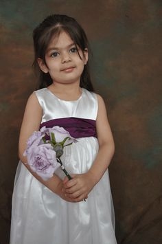 White or Ivory long dress purple sash