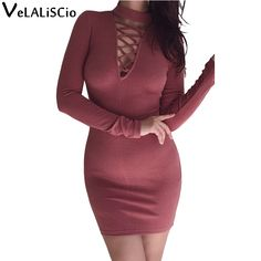 >> Click to Buy << VELALISCIO Brand Dress Women Autumn New Turtleneck Cross Strap Tight Sexy Dress Women Fashion Casual High Waist Warm Dress #Affiliate