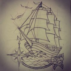 Traditional ship tattoo (rough sketch) by - Ranz