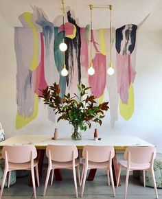 Blush chairs hanging lights and killer feature wall...Dining room inspo via Pinterest #9theblock #diningroom #interiors http://ift.tt/2v08UF3