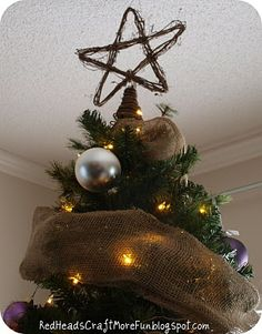 Tutorial for this Rustic Christmas Tree Topper!  --Try stringing it with tiny white lights, too!