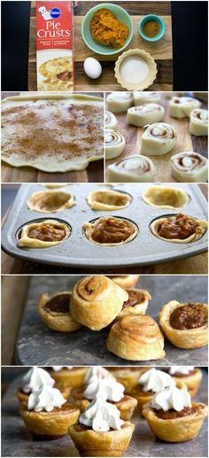 Mini Pumpkin Pies w/ Cinnamon Roll Pie Crust #pillsbury