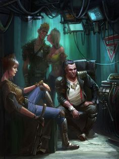Found on fuckyeahcyber-punk, this image captures some social downtime in a cyberpunk world.