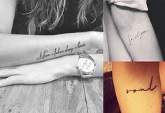30 ideias delicadas de tatuagens usando letras