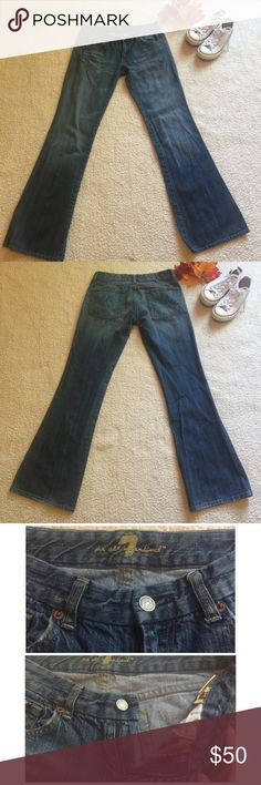 7 For All Mankind dark wash jeans 7 For All Mankind jeans in a darker wash. They are in great condition and have a flared leg (see pictures). The inseam is 31 inches.  100% cotton. 7 For All Mankind Jeans Flare & Wide Leg