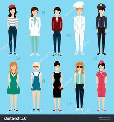 Set of colorful profession woman flat style: businesswoman, doctor, artist, designer, cook, police, teacher, stewardess, admin. Vector illustration.