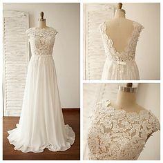 A-line+Wedding+Dress+-+Ivory+Sweep/Brush+Train+Jewel+Chiffon+/+Lace+–+USD+$+129.99