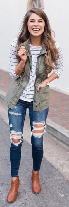 #winter #outfits green zip-up vest