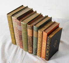 9 Antique Gilt Decorative Victorian Art Nouveau Binding Book Books Lot