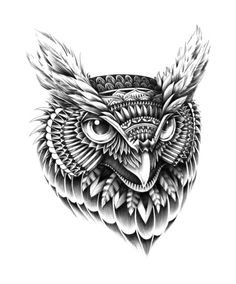 Ornate Owl Head Art Print by BioWorkZ | love the look but a lion?