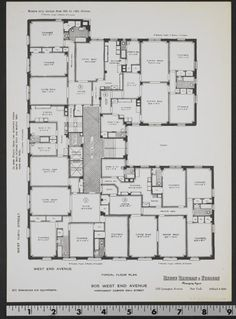 Bungalow Floor Plans, Apartment Floor Plans, Library Floor Plan, Architectural Floor Plans, Vintage House Plans, West End, Sims 2, Planer, Beautiful Homes