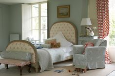 Vanessa Arbuthnott bedroom - love this bed would be great for a guest bedroom. Also loving the big windows and shutters. Bedroom Red, Pretty Bedroom, Bedroom Wall, Bedroom Decor, Grey Bedrooms, Bedroom Curtains, Bedroom Ideas, French Country Bedrooms, Country House Interior