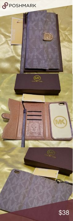 Case wallet mk iPhone 6/6s gray Brand New in rentail packaging this beautiful Wallet case has a slot for your ID cards and a pocket for Cash keeps your Phone safe and allows access to all ports and camera it's in color gray with? wristlet and super cute Michael Kors Accessories Sunglasses
