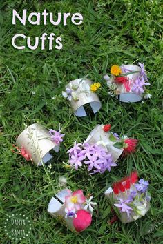 Nature cuffs - head outdoors and collect flowers and other natural items to adorn these pretty DIY cuff bracelets made from recycled toilet paper rolls. Become a nature superhero! Spring Nature, All Nature, Walking In Nature, Nature Study, Nature Activities, Spring Activities, Toddler Activities, Preschool Art Projects, Preschool Activities