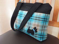 Handbag - black turquoise tartan with Scottie dog £25.95