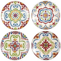 "Medallion Appetizer Plate Set, 6"" diameter -- ""Add rich color and exotic Moroccan-inspired motifs to your next buffet or lunch. Our set of four plates are made of microweavable and dishwasher-safe ironstone."" (reg 24.95, sale 12.48)"