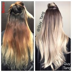 Guy Tang blonde color correct balayage with brown colormelt from the dark roots Hair Day, New Hair, Brown Blonde Hair, Brunette Hair, Blonde Hair With Dark Roots, Blonde Highlights On Dark Hair All Over, Blonde Asian Hair, Hair Highlights, Hair Color And Cut
