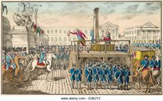 Execution of Louis XVI during the French Revolution Date: 21 January 1793 - Stock Image