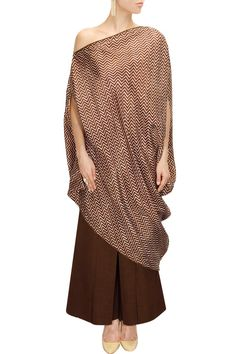 Payal Khandwala presents White and brown off shoulder tunic available only at Pernia's Pop-uP Shop.