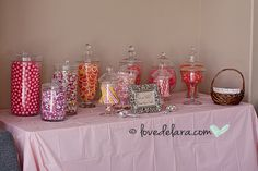 Maybe as party favors everyone gets to take some home. Baby Shower Candy Bar for girl