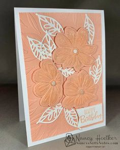 Cut and emboss in one go with the Bloom Hybrid Embossing Folder! #nancysniftynotes Embossing Folder, Nifty, Card Stock, Stampin Up, Bloom, Notes, Pink, Art, Art Background