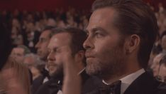 """Pin for Later: Relive All the Oscars Audience's Emotions, From Boredom to Belligerence Beside Oneself: Chris Pine, After the Performance of """"Glory"""""""