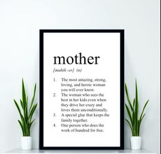 Mother Print - Definition Print - Dictionary Print - Mothers Day Gift - Gifts for mom - gifts for mother - mother wall art - mom print Mutter Print Diy Mothers Day Gifts, Parent Gifts, Mother Gifts, Gifts For Mom, Mother Mother, Happy Mothers Day, Mom Quotes From Daughter, Mothers Day Quotes, Anniversary Ideas For Him