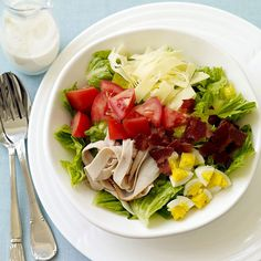 Try assembling this healthy cobb salad with light ingredients for a refreshing and filling lunch! #recipe #WWLoves