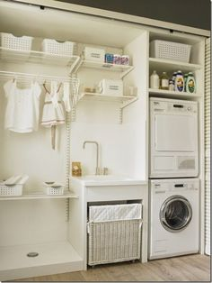 70 drying room design ideas that you can try in your home page 35 Laundry Room Cabinets, Basement Laundry, Small Laundry Rooms, Laundry Closet, Laundry Room Organization, Laundry Room Design, Laundry In Bathroom, Closet Storage, Storage Room