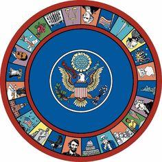 Symbols of America Classroom Carpet 7'7 Round