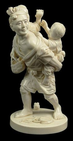 Finely Carved 19th Century Japanese Cross Hatched Ivory Figural Group of Man Carrying Two (2) Boys who are Fighting. Signed on Deeply Imbedded Cartouche. Very Good Condition. Measures 9 Inches Tall and Base Measures 4-1/2 Inches Wide