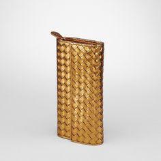 Bottega Veneta Oro Bruciato Intrecciato Nappa Ayers Continental Wallet