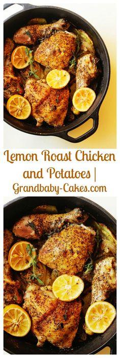 Lemon Roasted Chicken and Potatoes | http://Grandbaby-Cakes.com