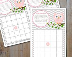 Owl Baby Shower Bingo Game Card / Instant Download / Pink Owl Bingo / DIY Printable Bingo Cards / Printable PDF File, 7850