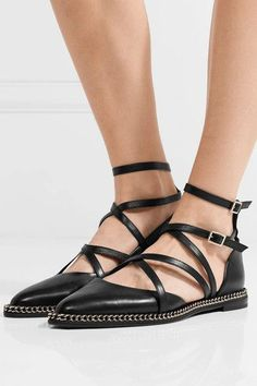 Lanvin - Chain-embellished Leather Point-toe Flats - Black