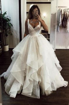 Wedding Dress Ball Gown White v neck tulle long prom dress, white evening dress - White v neck tulle long prom dress, white evening dress, Customized service and Rush order are available Long Wedding Dresses, Elegant Wedding Dress, Formal Evening Dresses, Elegant Dresses, Pretty Dresses, Bridal Dresses, Wedding White, Modest Wedding, Fall Wedding